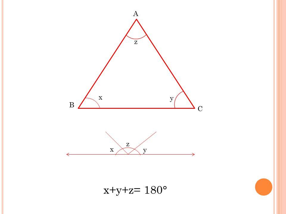 x B C A x+y+z= 180° z y x y z