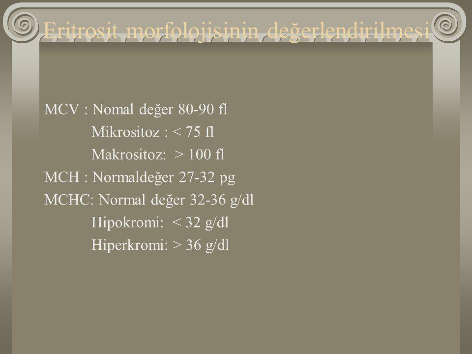 Eritrosit morfolojisinin değerlendirilmesi MCV : Nomal değer 80-90 fl Mikrositoz : < 75 fl Makrositoz: > 100 fl MCH : Normaldeğer 27-32 pg MCHC: Norma