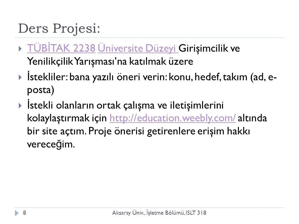 Bağlantılar Aksaray Üniv., İ şletme Bölümü, ISLT 3189  5.