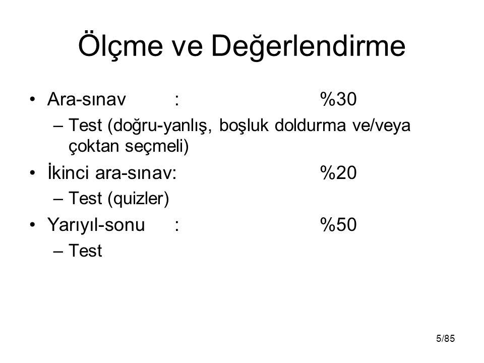 Ölçme ve Değerlendirme Ara-sınav: %30 –Test (doğru-yanlış, boşluk doldurma ve/veya çoktan seçmeli) İkinci ara-sınav: %20 –Test (quizler) Yarıyıl-sonu: %50 –Test 5/85