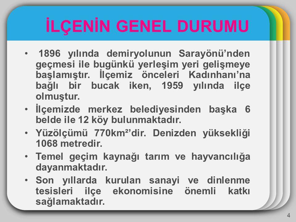1896 yılında demiryolunun Sarayönü'nden geçmesi ile bugünkü yerleşim yeri gelişmeye başlamıştır.