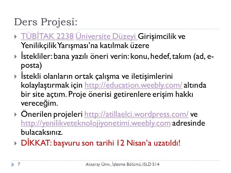 Ders Projesi: Aksaray Üniv., İ şletme Bölümü, ISLD 5147  TÜB İ TAK 2238 Üniversite Düzeyi Girişimcilik ve Yenilikçilik Yarışması'na katılmak üzere TÜ