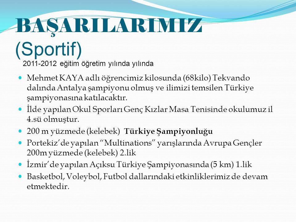BAŞARILARIMIZ (Sportif) Mehmet KAYA adlı öğrencimiz kilosunda (68kilo) Tekvando dalında Antalya şampiyonu olmuş ve ilimizi temsilen Türkiye şampiyonas