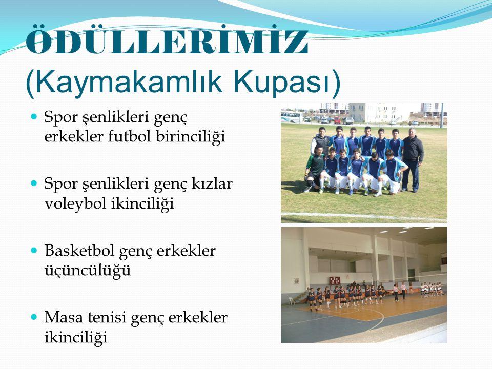ÖDÜLLERİMİZ (Kaymakamlık Kupası) Spor şenlikleri genç erkekler futbol birinciliği Spor şenlikleri genç kızlar voleybol ikinciliği Basketbol genç erkek