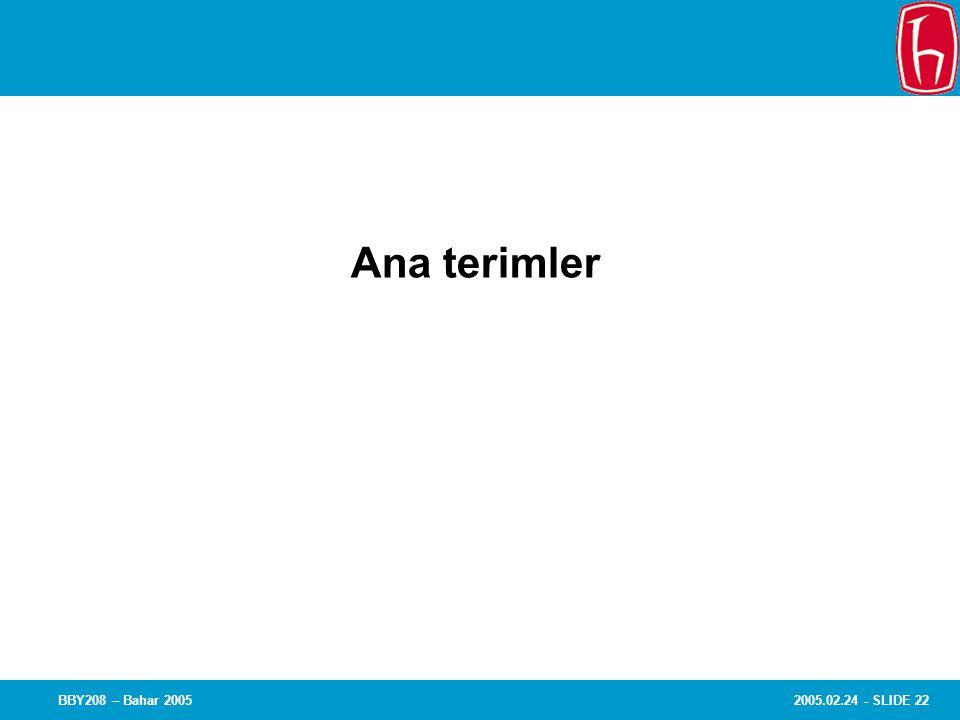 2005.02.24 - SLIDE 22BBY208 – Bahar 2005 Chapter 8 Experiments Ana terimler