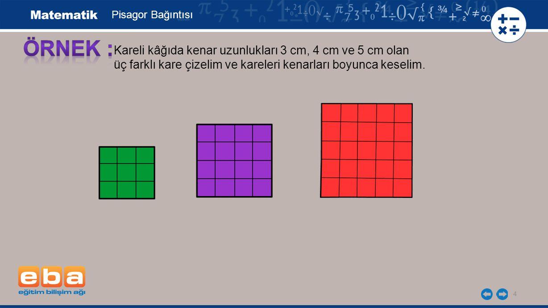 5 Kareleri, dik üçgenin kenarları boyunca eş olan kenarlar üst üste gelecek şekilde yerleştirelim.