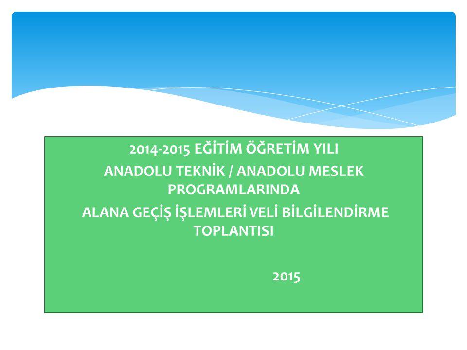 2014-2015 EĞİTİM ÖĞRETİM YILI ANADOLU TEKNİK / ANADOLU MESLEK PROGRAMLARINDA ALANA GEÇİŞ İŞLEMLERİ VELİ BİLGİLENDİRME TOPLANTISI 2015