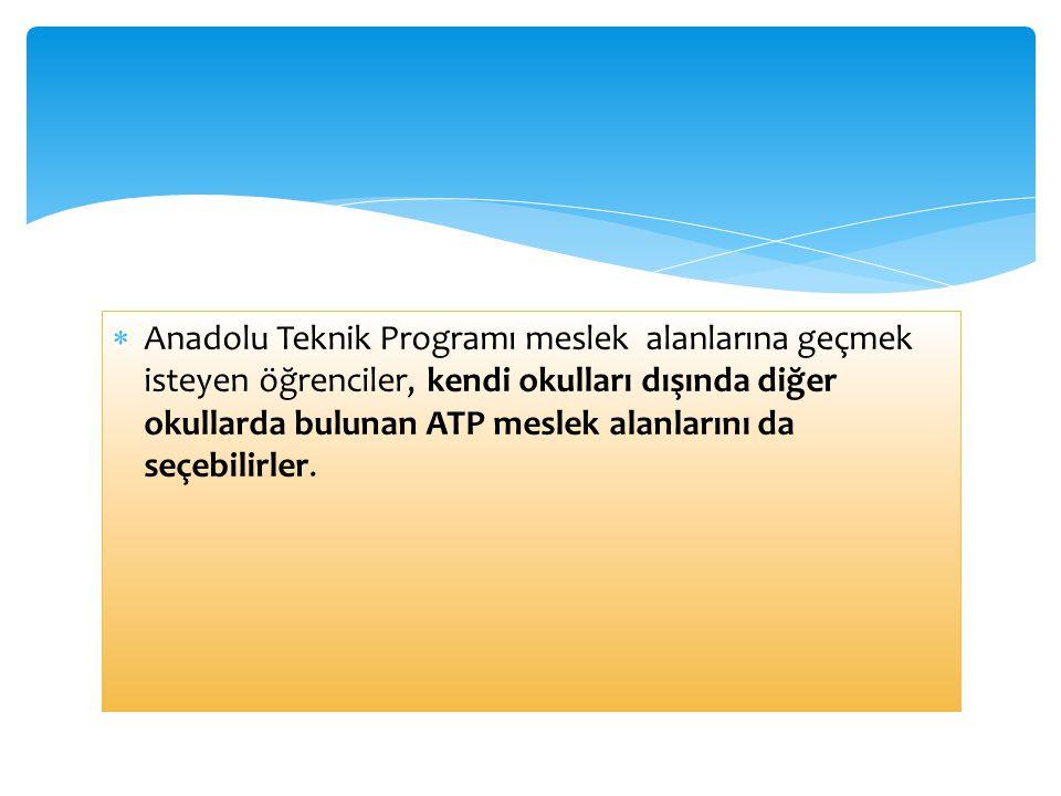  Anadolu Teknik Programı meslek alanlarına geçmek isteyen öğrenciler, kendi okulları dışında diğer okullarda bulunan ATP meslek alanlarını da seçebil