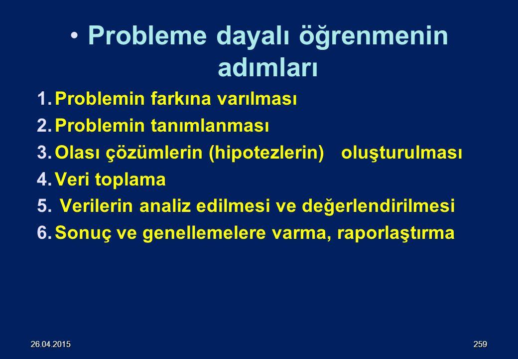 Probleme dayalı öğrenmenin adımları 1.Problemin farkına varılması 2.Problemin tanımlanması 3.Olası çözümlerin (hipotezlerin) oluşturulması 4.Veri toplama 5.