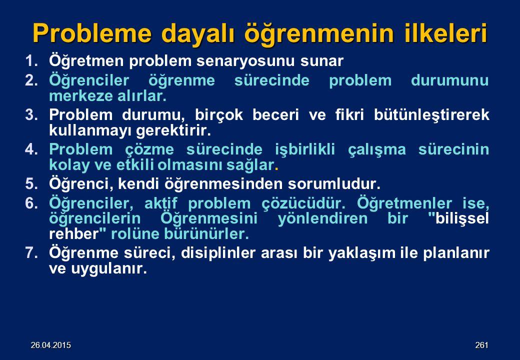 Probleme dayalı öğrenmenin ilkeleri 1.Öğretmen problem senaryosunu sunar 2.Öğrenciler öğrenme sürecinde problem durumunu merkeze alırlar.