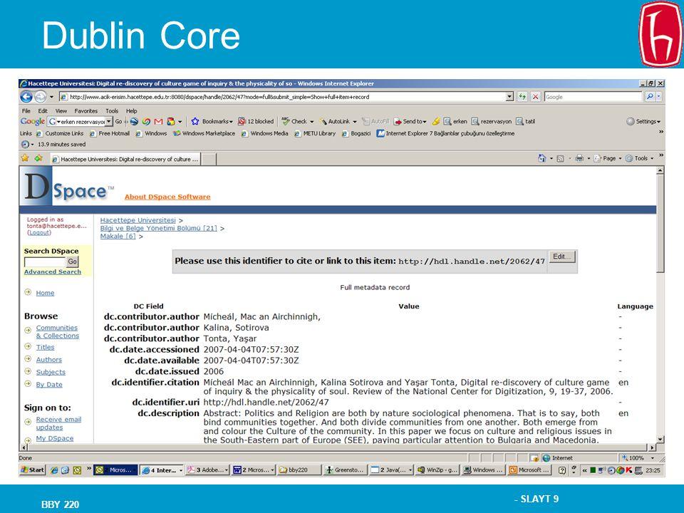 - SLAYT 9 BBY 220 Dublin Core