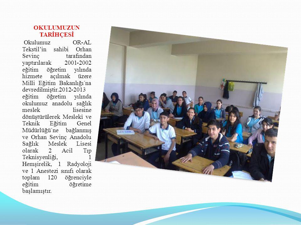 OKULUMUZUN TARİHÇESİ Okulumuz OR-AL Tekstil'in sahibi Orhan Sevinç tarafından yaptırılarak 2001-2002 eğitim öğretim yılında hizmete açılmak üzere Mill