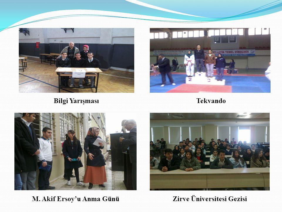 Bilgi YarışmasıTekvando M. Akif Ersoy'u Anma GünüZirve Üniversitesi Gezisi