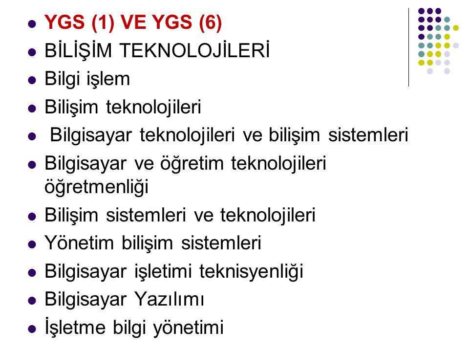 YGS (1) VE YGS (6) BİLİŞİM TEKNOLOJİLERİ Bilgi işlem Bilişim teknolojileri Bilgisayar teknolojileri ve bilişim sistemleri Bilgisayar ve öğretim teknol
