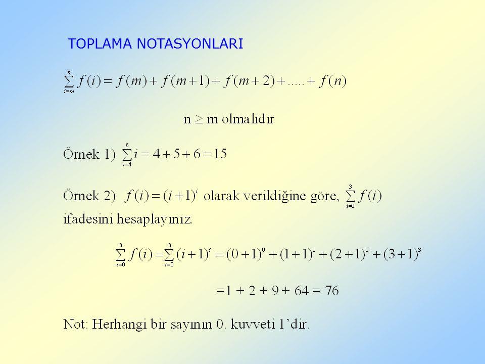TOPLAMA NOTASYONLARI
