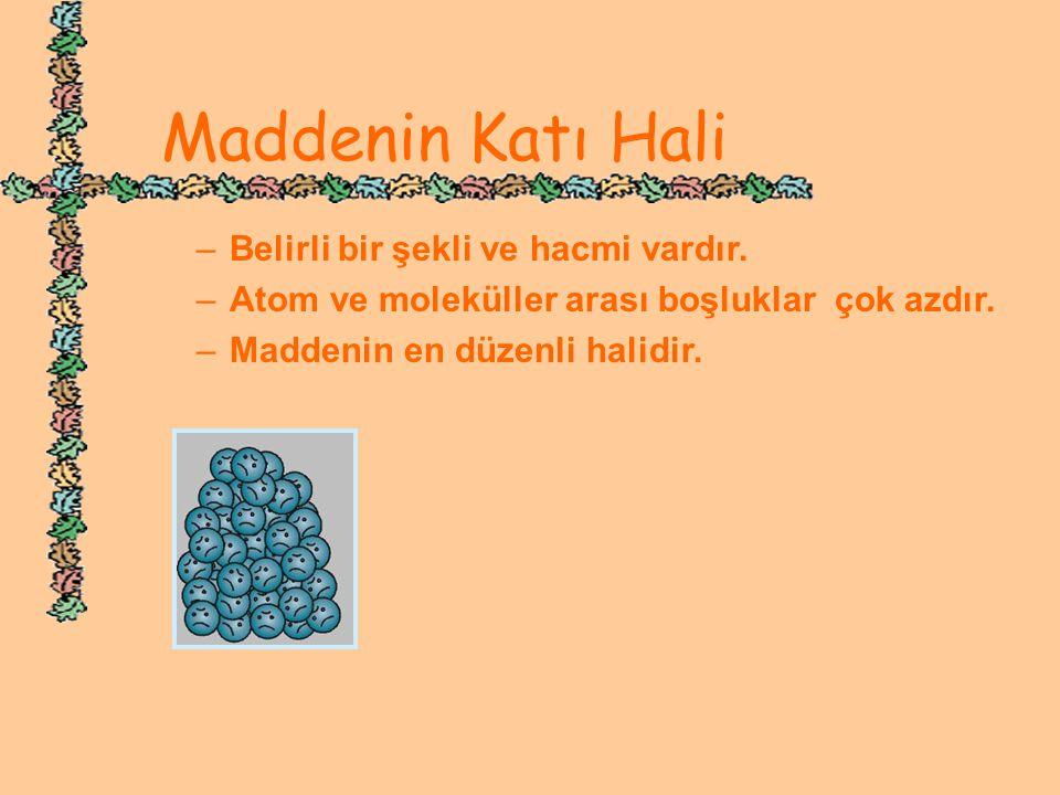 www.hazirslayt.com Maddenin Katı Hali –B–Belirli bir şekli ve hacmi vardır. –A–Atom ve moleküller arası boşluklar çok azdır. –M–Maddenin en düzenli ha