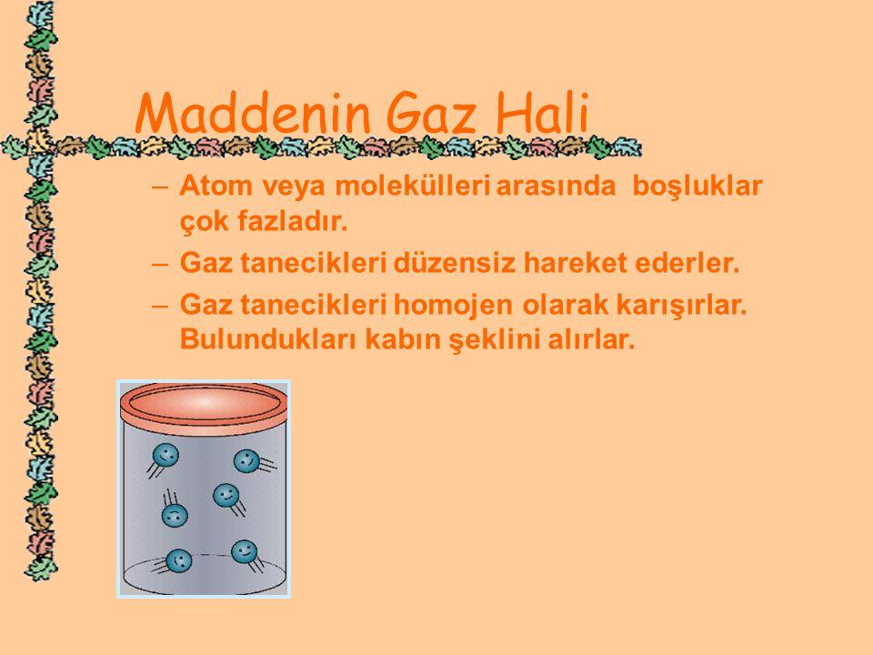 Maddenin Gaz Hali –A–Atom veya molekülleri arasında boşluklar çok fazladır. –G–Gaz tanecikleri düzensiz hareket ederler. –G–Gaz tanecikleri homojen ol