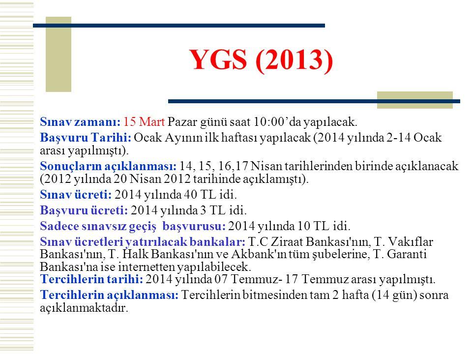 YGS (2013) Sınav zamanı: 15 Mart Pazar günü saat 10:00'da yapılacak.