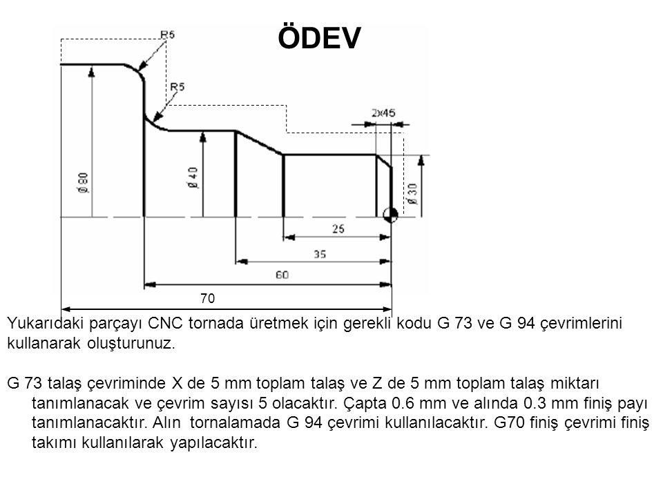 70 Yukarıdaki parçayı CNC tornada üretmek için gerekli kodu G 73 ve G 94 çevrimlerini kullanarak oluşturunuz. G 73 talaş çevriminde X de 5 mm toplam t