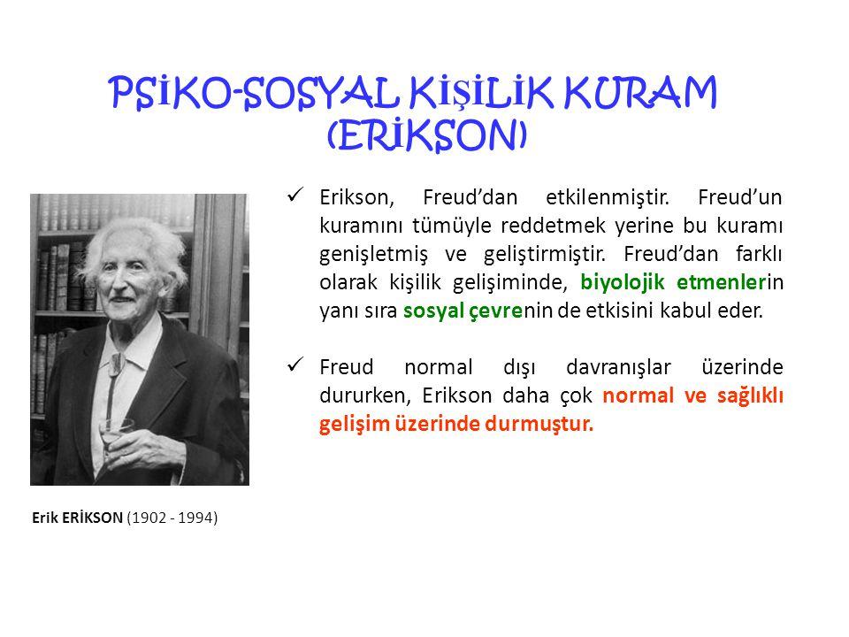 31 PS İ KO-SOSYAL K İŞİ L İ K KURAM (ER İ KSON) Erikson, Freud'dan etkilenmiştir.
