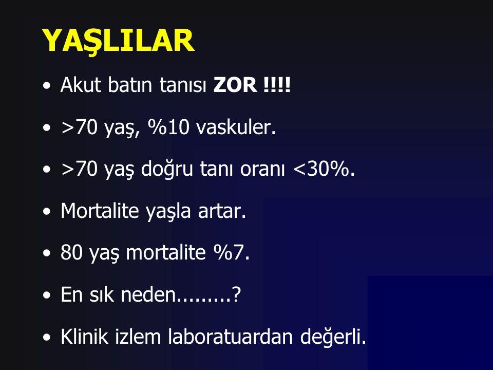 YAŞLILAR Akut batın tanısı ZOR !!!! >70 yaş, %10 vaskuler. >70 yaş doğru tanı oranı <30%. Mortalite yaşla artar. 80 yaş mortalite %7. En sık neden....