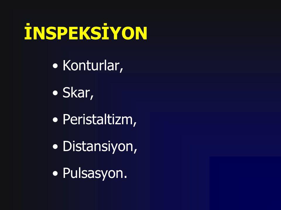 İNSPEKSİYON Konturlar, Skar, Peristaltizm, Distansiyon, Pulsasyon.