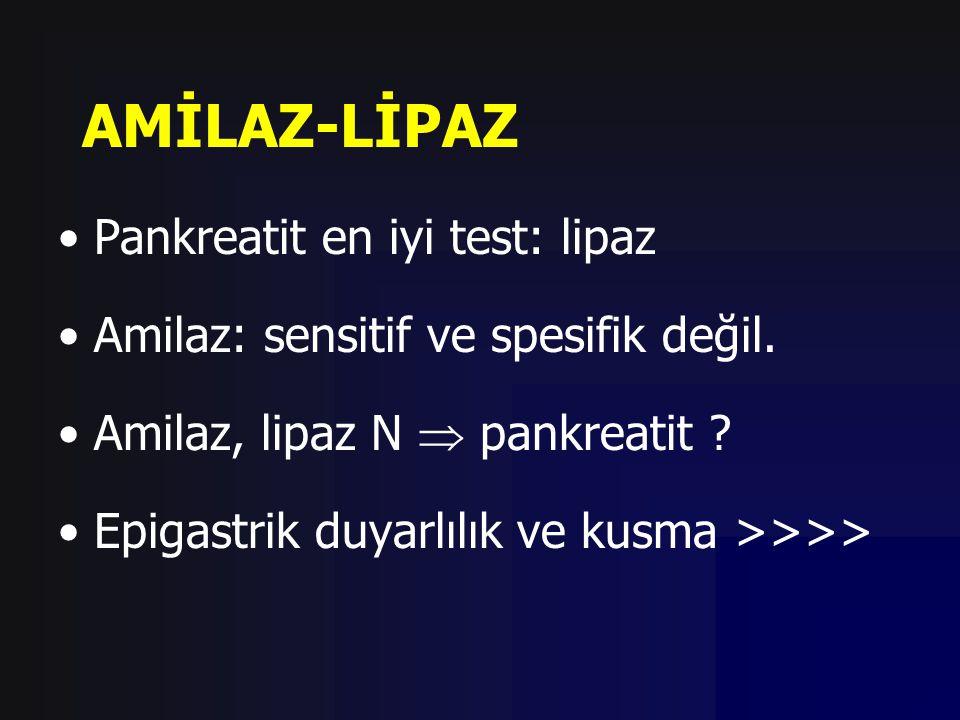 AMİLAZ-LİPAZ Pankreatit en iyi test: lipaz Amilaz: sensitif ve spesifik değil. Amilaz, lipaz N  pankreatit ? Epigastrik duyarlılık ve kusma >>>>