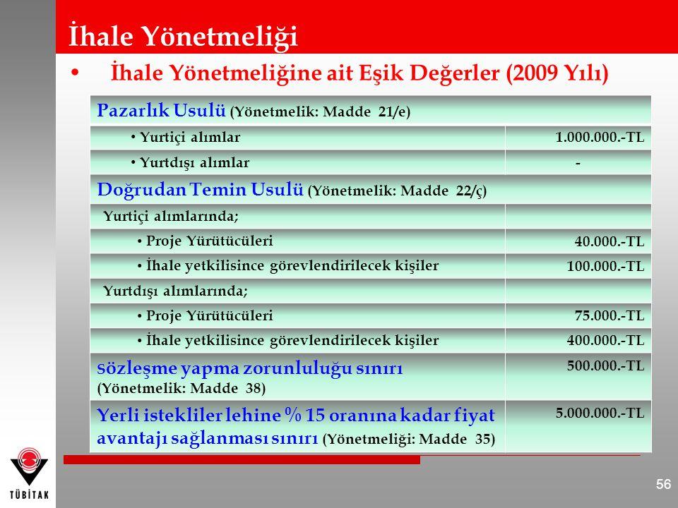 İhale Yönetmeliği İhale Yönetmeliğine ait Eşik Değerler (2009 Yılı) 56 Pazarlık Usulü (Yönetmelik: Madde 21/e) Yurtiçi alımlar1.000.000.-TL Yurtdışı alımlar- Doğrudan Temin Usulü (Yönetmelik: Madde 22/ç) Yurtiçi alımlarında; Proje Yürütücüleri 40.000.-TL İhale yetkilisince görevlendirilecek kişiler 100.000.-TL Yurtdışı alımlarında; Proje Yürütücüleri 75.000.-TL İhale yetkilisince görevlendirilecek kişiler 400.000.-TL S özleşme yapma zorunluluğu sınırı (Yönetmelik: Madde 38) 500.000.-TL Yerli istekliler lehine % 15 oranına kadar fiyat avantajı sağlanması sınırı (Yönetmeliği: Madde 35) 5.000.000.-TL