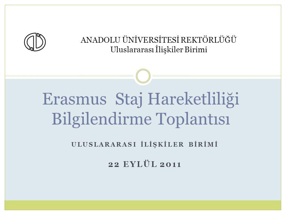 ULUSLARARASI İLİŞKİLER BİRİMİ 22 EYLÜL 2011 Erasmus Staj Hareketliliği Bilgilendirme Toplantısı ANADOLU ÜNİVERSİTESİ REKTÖRLÜĞÜ Uluslararası İlişkiler Birimi