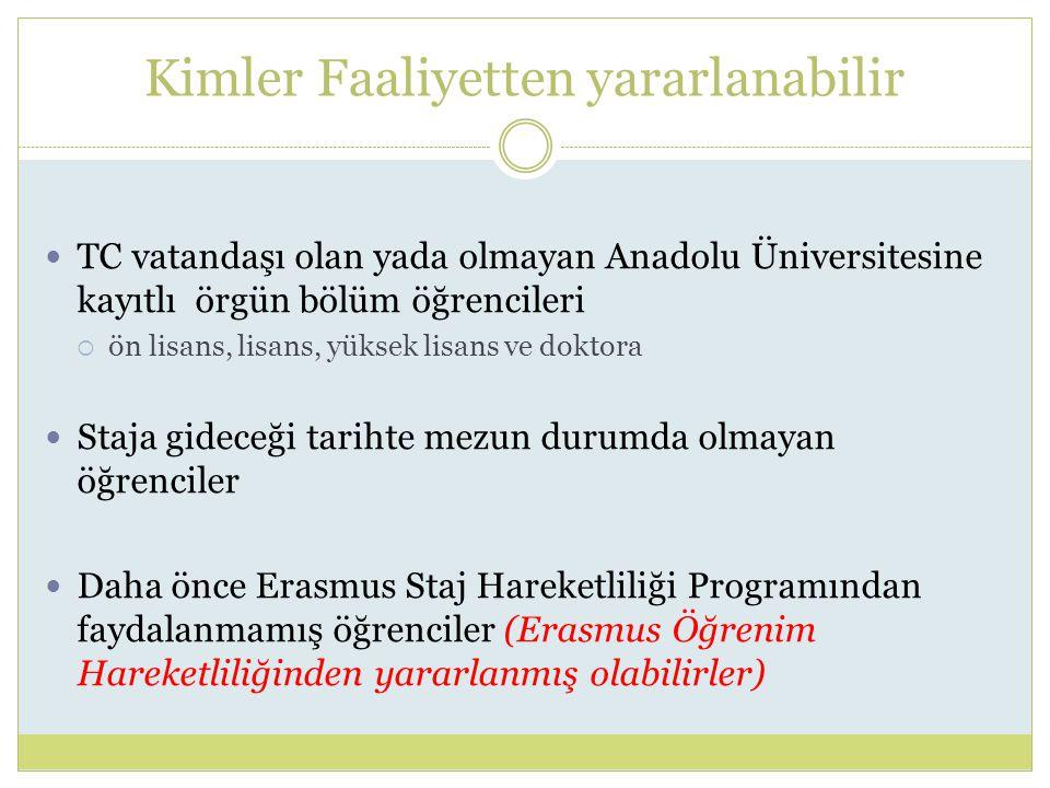 Kimler Faaliyetten yararlanabilir TC vatandaşı olan yada olmayan Anadolu Üniversitesine kayıtlı örgün bölüm öğrencileri  ön lisans, lisans, yüksek lisans ve doktora Staja gideceği tarihte mezun durumda olmayan öğrenciler Daha önce Erasmus Staj Hareketliliği Programından faydalanmamış öğrenciler (Erasmus Öğrenim Hareketliliğinden yararlanmış olabilirler)