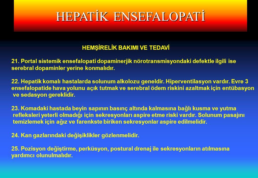 HEPATİK ENSEFALOPATİ HEMŞİRELİK BAKIMI VE TEDAVİ 21.