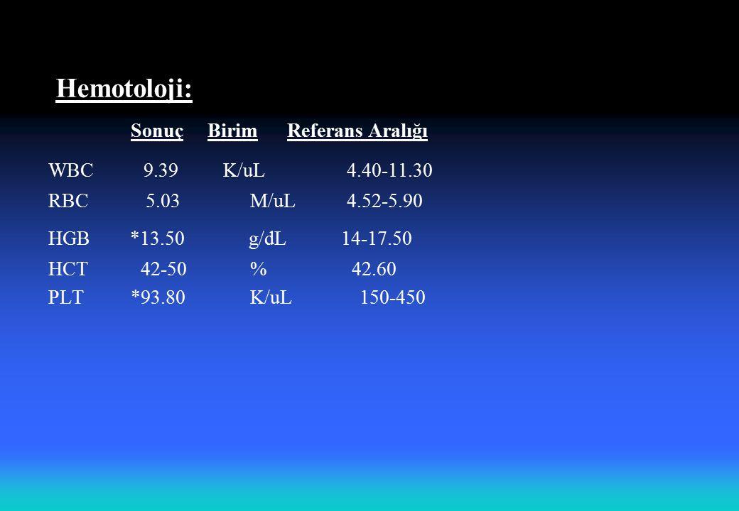 Hemotoloji: Sonuç Birim Referans Aralığı WBC 9.39 K/uL 4.40-11.30 RBC 5.03 M/uL 4.52-5.90 HGB *13.50 g/dL 14-17.50 HCT 42-50 % 42.60 PLT *93.80 K/uL15