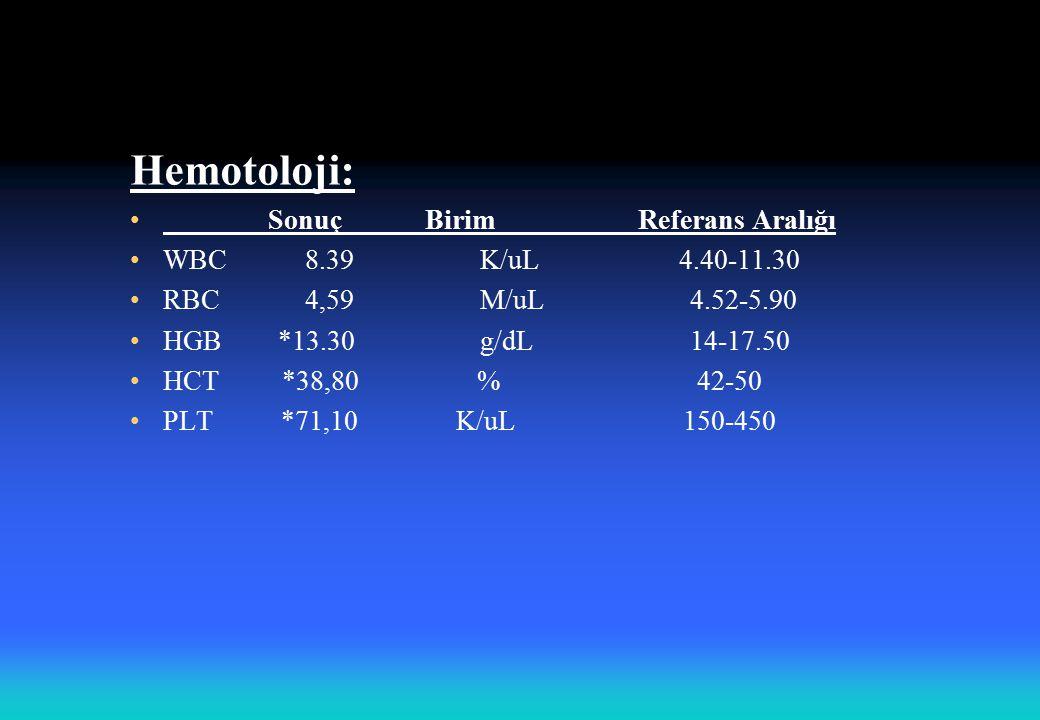 Hemotoloji: Sonuç Birim Referans Aralığı WBC8.39K/uL 4.40-11.30 RBC4,59 M/uL 4.52-5.90 HGB *13.30 g/dL 14-17.50 HCT *38,80 % 42-50 PLT *71,10 K/uL 150-450