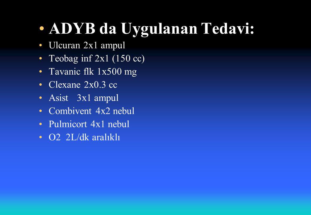 ADYB da Uygulanan Tedavi: Ulcuran 2x1 ampul Teobag inf 2x1 (150 cc) Tavanic flk 1x500 mg Clexane 2x0.3 cc Asist 3x1 ampul Combivent 4x2 nebul Pulmicort 4x1 nebul O2 2L/dk aralıklı