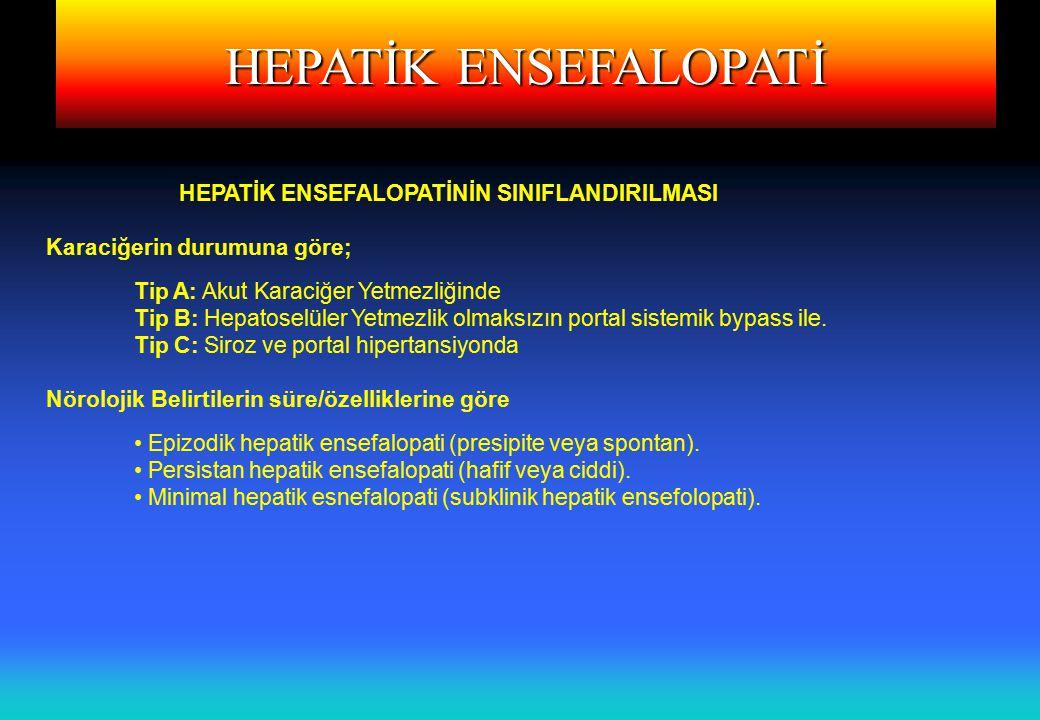 HEPATİK ENSEFALOPATİ HEPATİK ENSEFALOPATİNİN SINIFLANDIRILMASI Karaciğerin durumuna göre; Tip A: Akut Karaciğer Yetmezliğinde Tip B: Hepatoselüler Yet