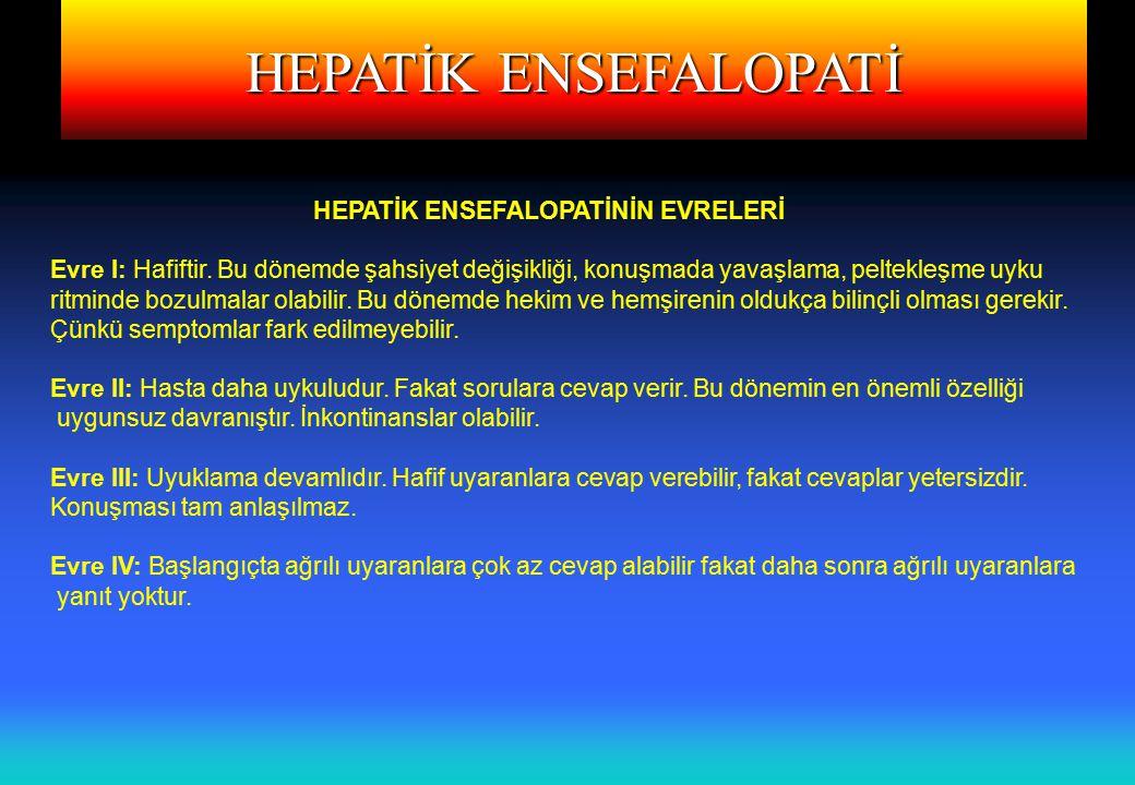 HEPATİK ENSEFALOPATİ HEPATİK ENSEFALOPATİNİN EVRELERİ Evre I: Hafiftir.