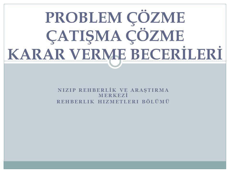 Problem- çatışma çözme-karar verme becerileri Nizip Rehberlik ve Araştırma Merkezi, Şubat 2014 Bu üç kavram iç içeler ve benzer süreçleri içeriyorlar.