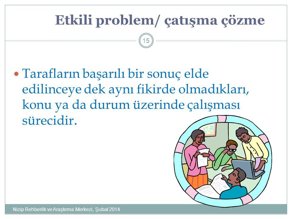 Etkili problem/ çatışma çözme Tarafların başarılı bir sonuç elde edilinceye dek aynı fikirde olmadıkları, konu ya da durum üzerinde çalışması sürecidir.