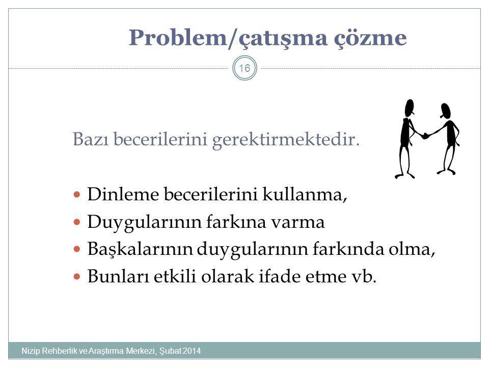 Problem/çatışma çözme Bazı becerilerini gerektirmektedir.