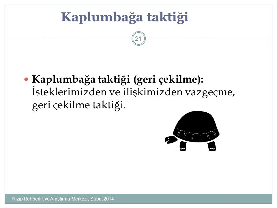 Kaplumbağa taktiği Kaplumbağa taktiği (geri çekilme): İsteklerimizden ve ilişkimizden vazgeçme, geri çekilme taktiği.