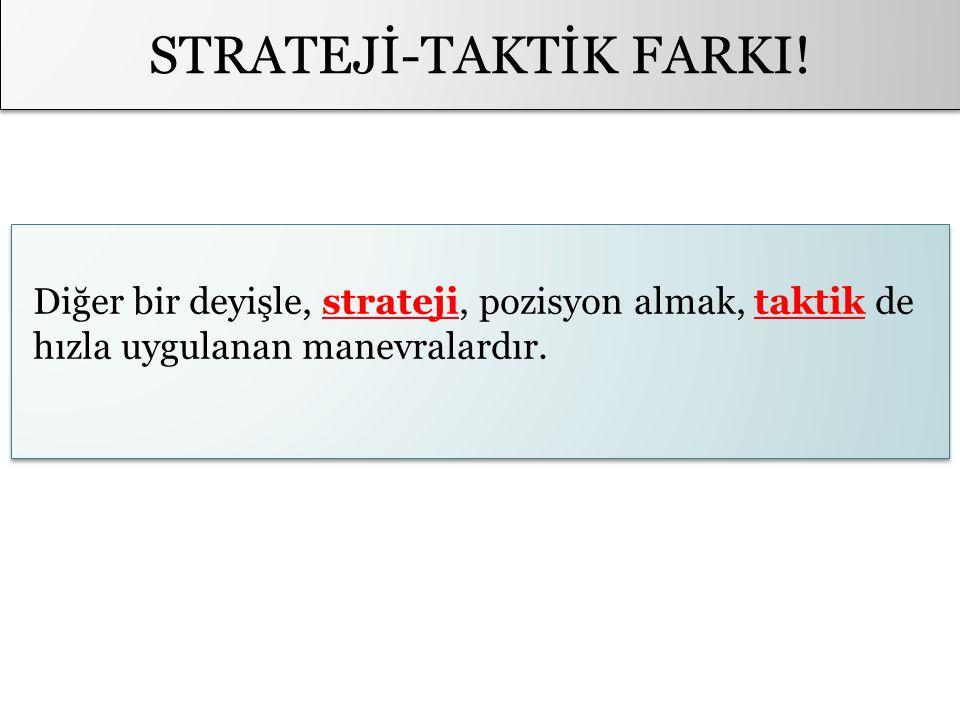 STRATEJİ-TAKTİK FARKI! Diğer bir deyişle, strateji, pozisyon almak, taktik de hızla uygulanan manevralardır.
