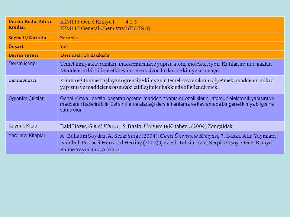 Dersin Künyesi Dersin Kodu, Adı ve Kredisi KİM115 Genel Kimya I 4 2 5 KIM115 General Chemistry I (ECTS 6) Seçmeli/ZorunluZorunlu ÖnşartYok Dersin süre