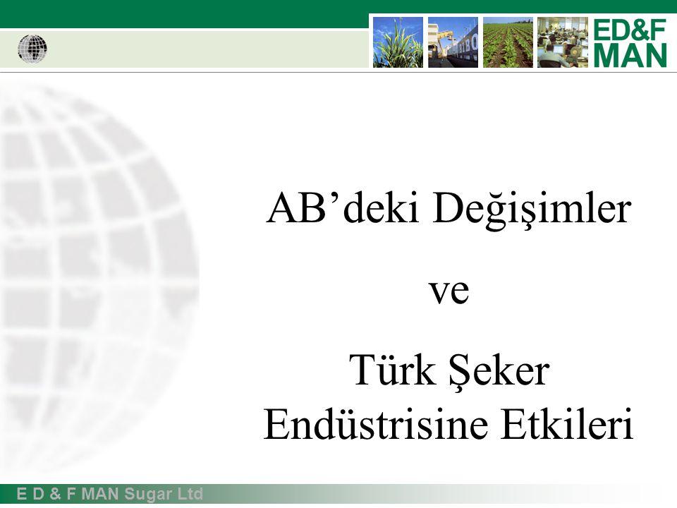E D & F MAN Sugar Ltd AB'deki Değişimler ve Türk Şeker Endüstrisine Etkileri