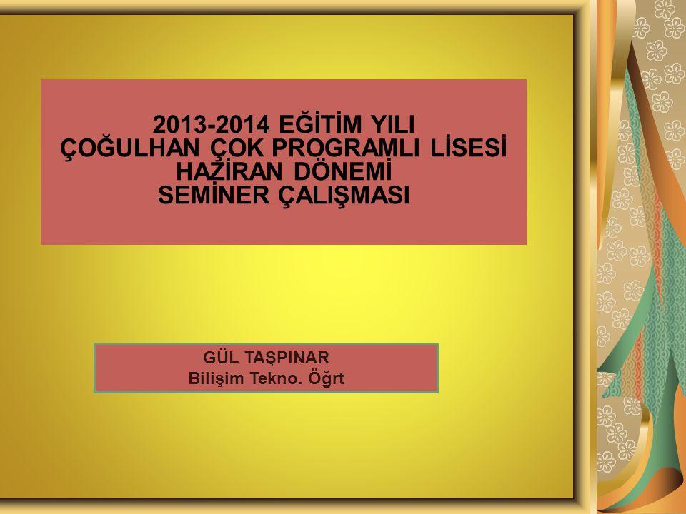 2013-2014 EĞİTİM YILI ÇOĞULHAN ÇOK PROGRAMLI LİSESİ HAZİRAN DÖNEMİ SEMİNER ÇALIŞMASI GÜL TAŞPINAR Bilişim Tekno.