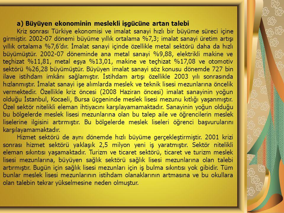 a) Büyüyen ekonominin meslekli işgücüne artan talebi Kriz sonrası Türkiye ekonomisi ve imalat sanayi hızlı bir büyüme süreci içine girmiştir. 2002-07