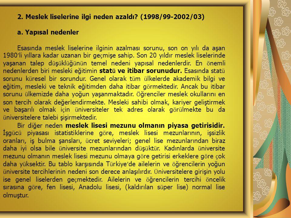 2. Meslek liselerine ilgi neden azaldı? (1998/99-2002/03) a. Yapısal nedenler Esasında meslek liselerine ilginin azalması sorunu, son on yılı da aşan