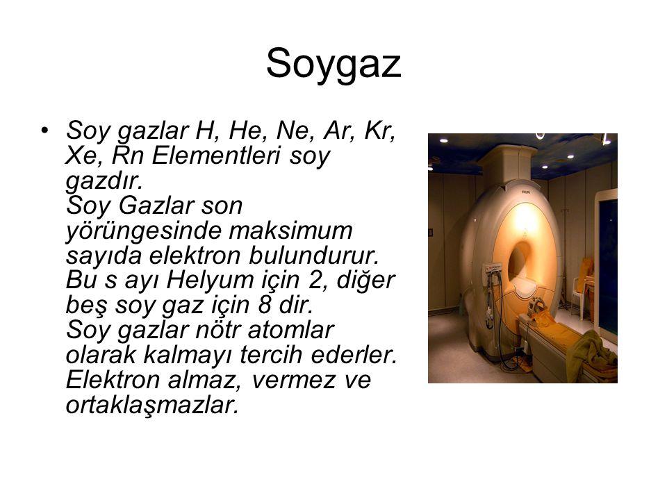 Soygaz Soy gazlar H, He, Ne, Ar, Kr, Xe, Rn Elementleri soy gazdır. Soy Gazlar son yörüngesinde maksimum sayıda elektron bulundurur. Bu s ayı Helyum i
