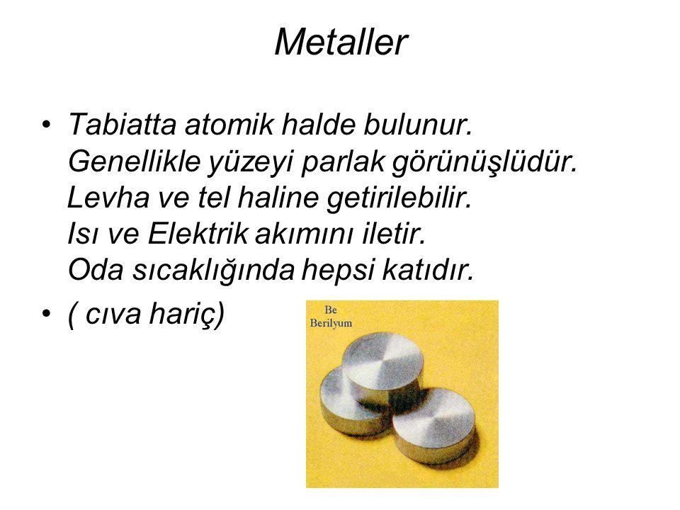 Metaller Tabiatta atomik halde bulunur. Genellikle yüzeyi parlak görünüşlüdür. Levha ve tel haline getirilebilir. Isı ve Elektrik akımını iletir. Oda
