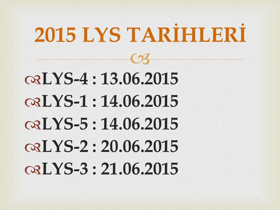   LYS-4 : 13.06.2015  LYS-1 : 14.06.2015  LYS-5 : 14.06.2015  LYS-2 : 20.06.2015  LYS-3 : 21.06.2015 2015 LYS TARİHLERİ