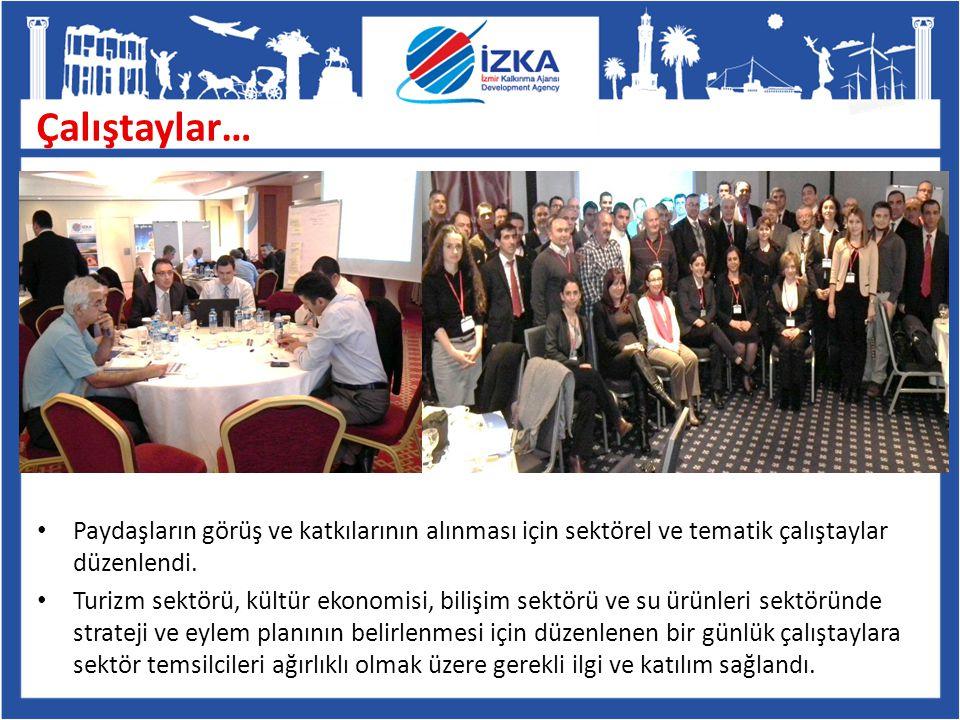 Paydaşların görüş ve katkılarının alınması için sektörel ve tematik çalıştaylar düzenlendi. Turizm sektörü, kültür ekonomisi, bilişim sektörü ve su ür